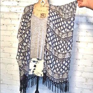 Jackets & Blazers - Kimono summer cover up with fringes EUC size OS